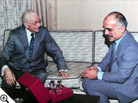 Herbert W. Armstrong presents a gift of Steuben crystal to King Hussein of Jordan, a lifetime friend.