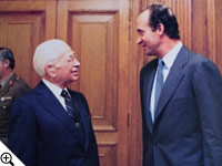 Juan Carlos, King of Spain, and Herbert W. Armstrong converse on the King's estate outside of Madrid.
