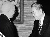 Nobel Peace Prize winner & Prime Minister of Japan, Eisaku Sato with Herbert W. Armstrong.