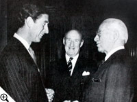 Charles, Prince of Wales, greets Herbert W. Armstrong as a benefactor of the Royal Opera House in London.