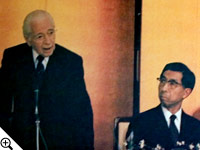 Herbert W. Armstrong addressing Prince Mikasa and other members of the Japanese Diet in Tokyo.